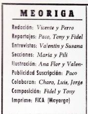 Imagen con los nombres del equipo de la revista Meoriga de Mayorga