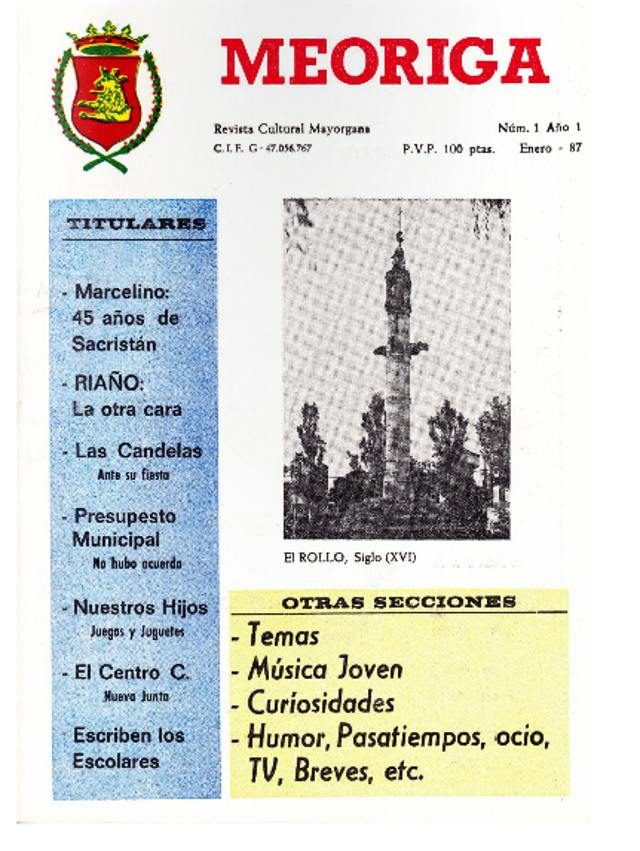 Foto de la portada de la revista número 1 de la revista Meoriga de Mayorga