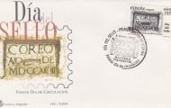 Foto del sobre con sello y matasellos del buzón más antiguo de España 2001