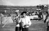 Cipri e Ignacio en la plaza de toros de Mayorga