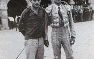 Julio Escudero y Jesús Paniagua en la plaza de toros de Mayorga