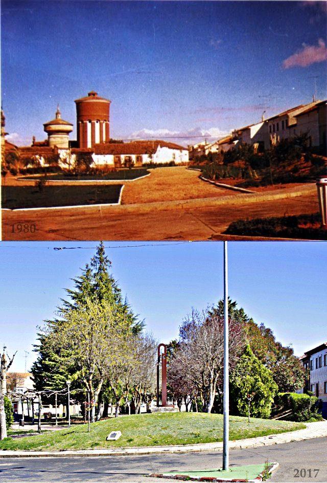 Foto comparativa del Rollo de Mayorga en 1980 y 2017