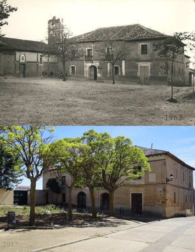 Foto del colegio de la Inmaculada en Mayorga en 1963 y en 2017